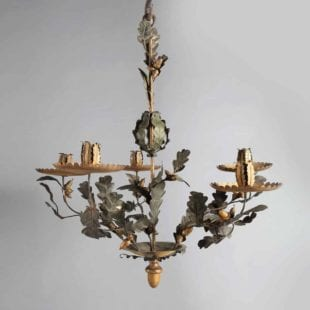 Italian 19th Century Painted tole oak leaf chandelier