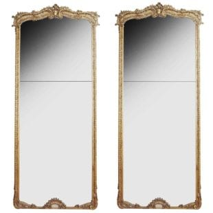 Large Pair of 3 meter tall antique pier mirrors