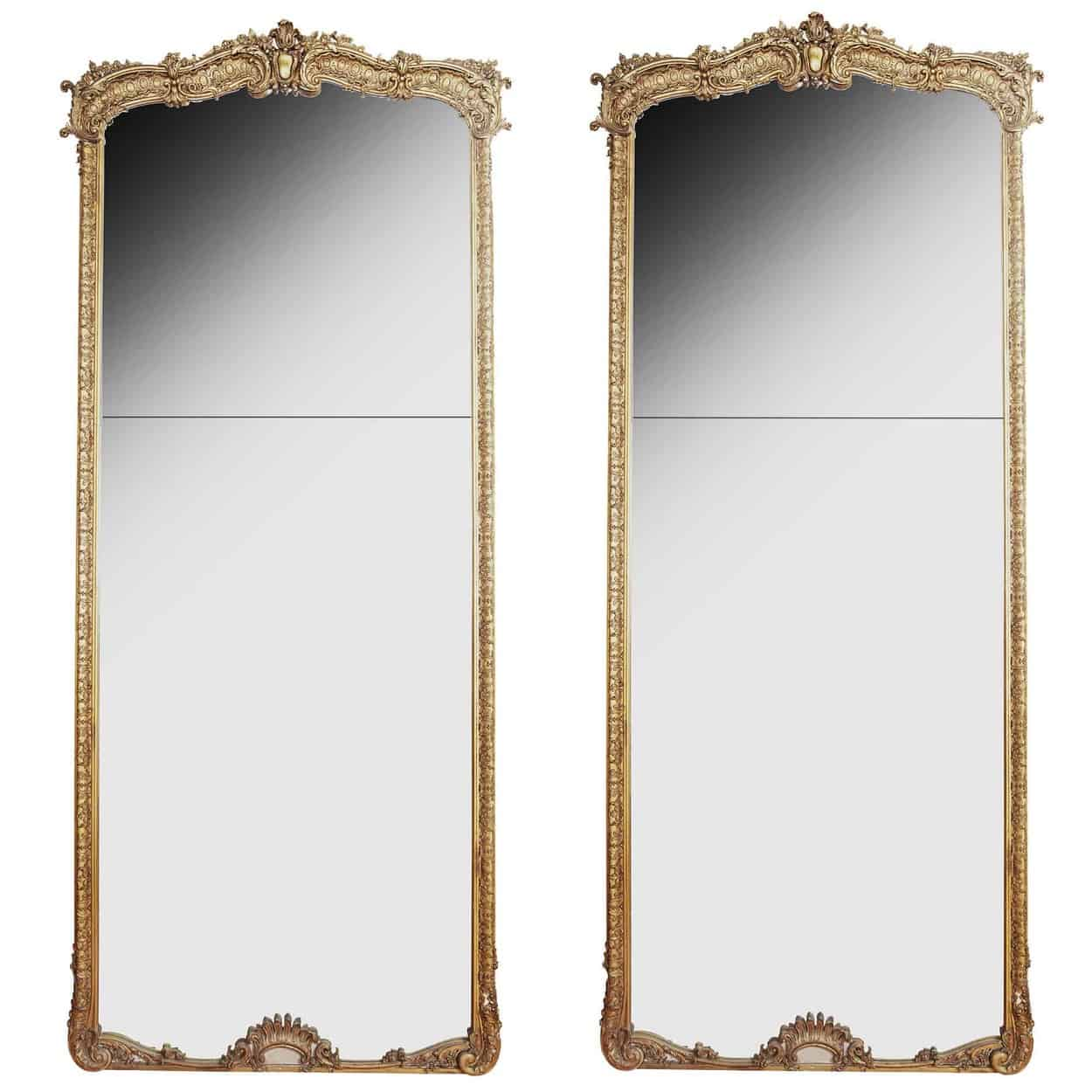 Pair Of Large 10ft Tall Full Length French Louis Xv Antique Gold Gilt Pier Mirrors Nicholas Wells Antiques Ltd Antique Dealers London Masterpiece Located In London