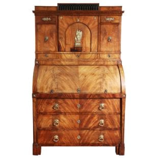 Baltic Empire Mahogany Roll Top Secretary Cabinet
