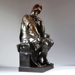 Michelangelo thinker lorenzo de medici bronze sculpture by Barbedienne
