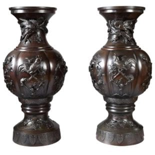 Large Pair of Antique Japanese Bronze Vases