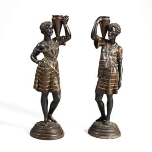 Pair of Bronze Nubian Orientalist Figurines