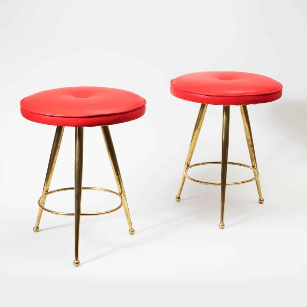 Pair of Italian Mid Century Polished Brass & Red Stools