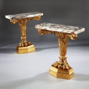 Pair of Antique Neo Classical Giltwood and Marble Monopedia Console Tables