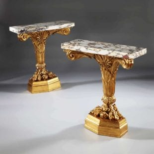 Pair of Giltwood Console Tables in the Manner of Marsh and Tatham