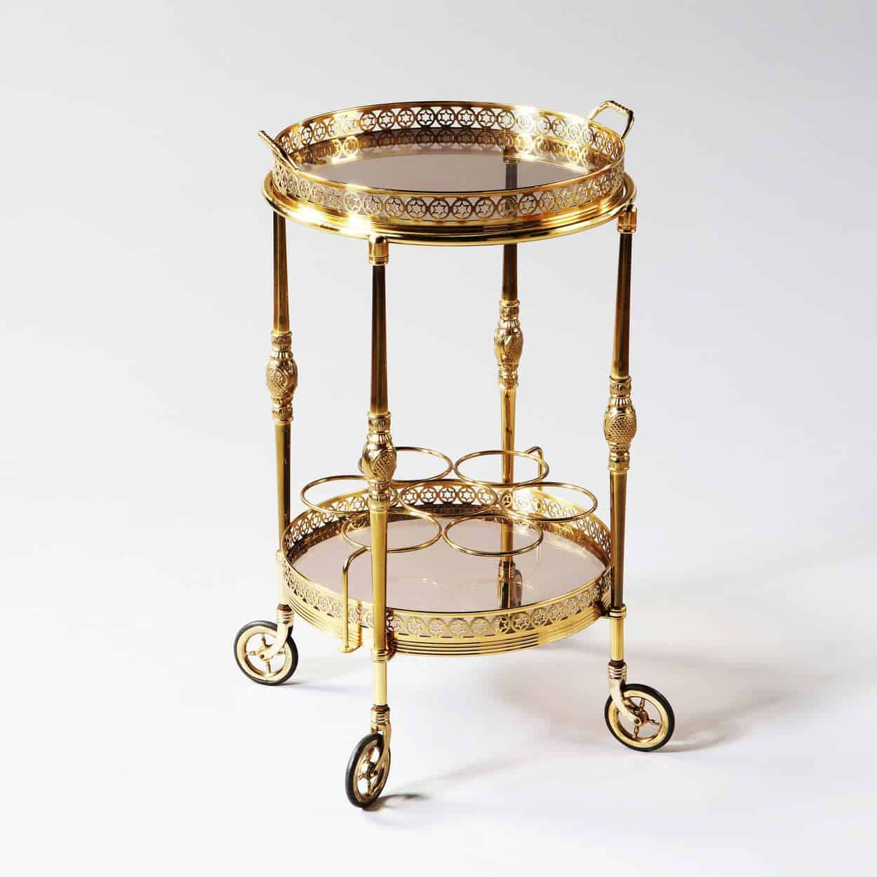 Round Drinks Trolley French Mid Century Polished Brass Circular Bar Cart Nicholas Wells Antiques Ltd Antique Dealers London Masterpiece Located In London