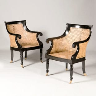 Pair of Regency Style Caned Ebony Library Chairs