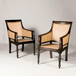 Pair of Raffles Style Ebony Caned Library Chairs