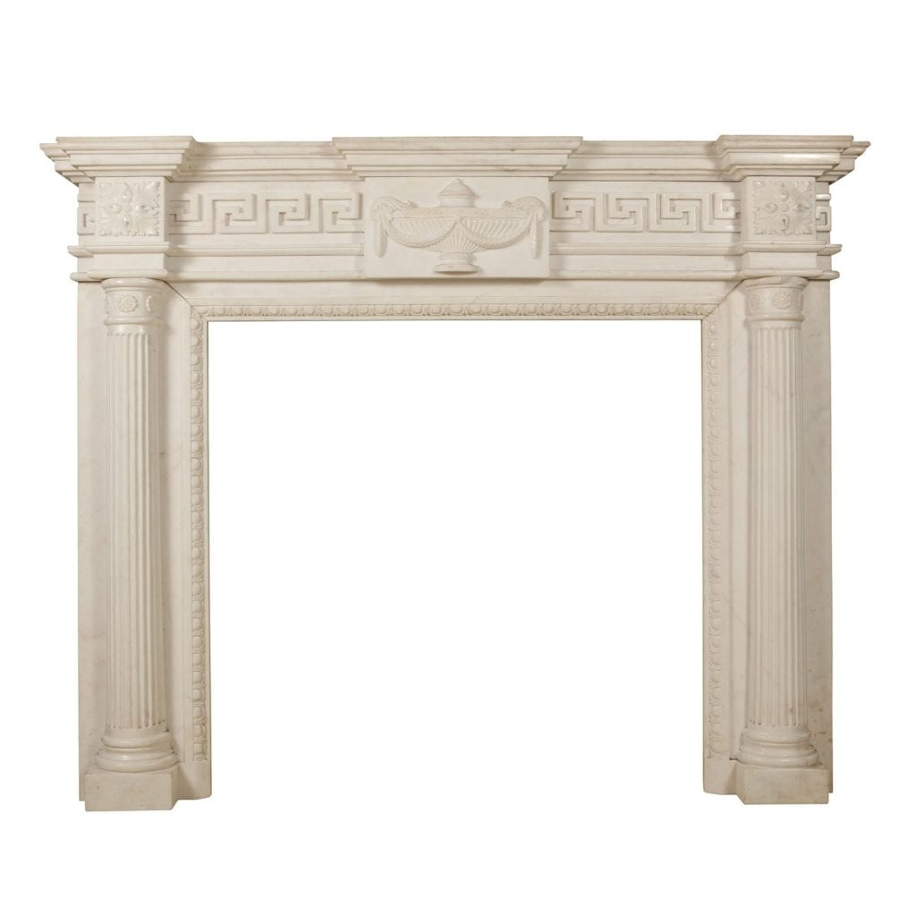 Neo Classical Greek Key White Marble Fire Surround