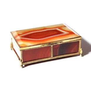 Large Orange Agate Box with Bronze Dore Fittings