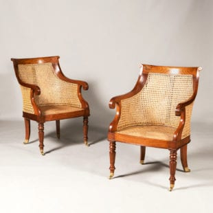 Pair of Regency Style Caned Teak Library Chairs