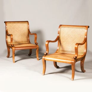 Large Pair of Caned Teak Library Armchairs
