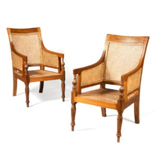 Pair of Teak Caned Library Chairs