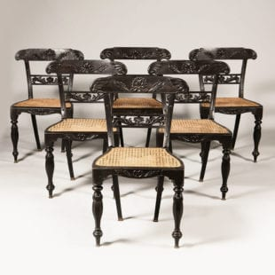Set of Six Anglo Indian Ebony Side Chairs
