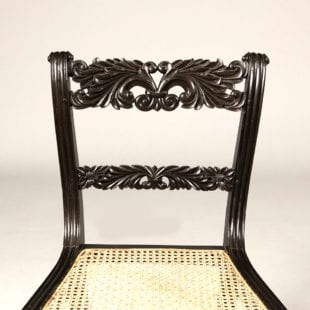 Set of Four Anglo Indian Ebony Side Chairs
