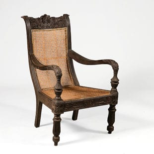 Anglo Indian Carved Teak Raffles Chair