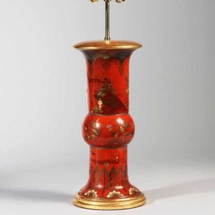antique red chinoiserie table lamp - Berlin Japanned Pottery