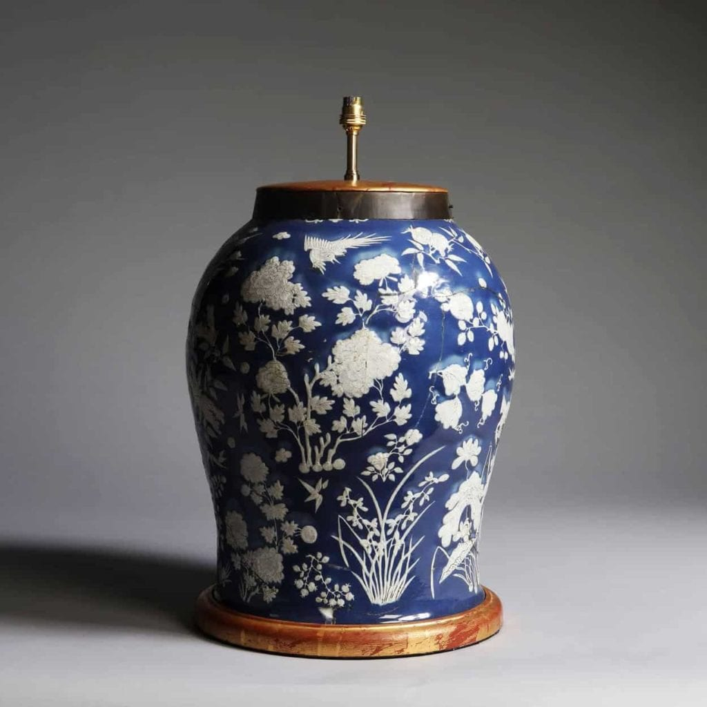 19th Century Chinese Blue and White porcelain large antique table lamp