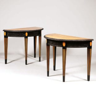 Pair of Ebony and Satinwood Demi Lune Console Tables