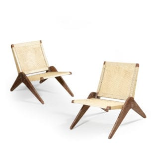 PAIR OF CANED CHANDIGARH CHAIRS
