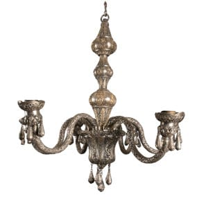 Solid Silver Six Arm Indian Chandelier