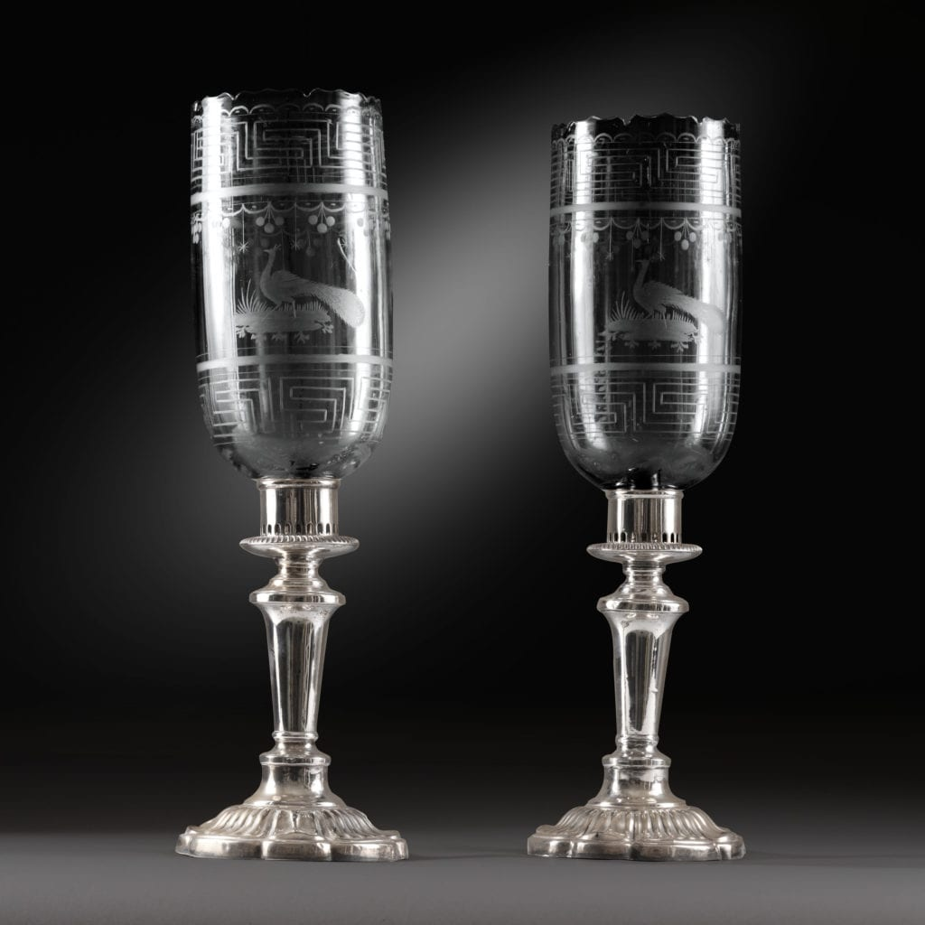 Pair of Silver Plate and Etched Glass Photophores