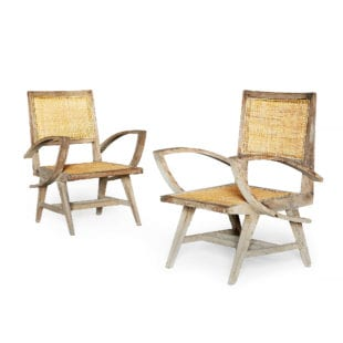 Pair of Caned Chandigarh Armchairs