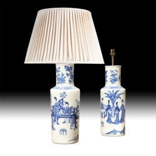Pair blue and white Chinese table lamps