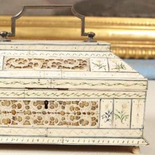 Walrus ivory, and bone veneered casket, probably Archangel, late 18th century