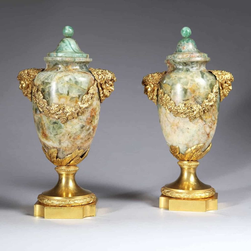 Pair of Weardale Fluorspar and Ormolu Covered Urns