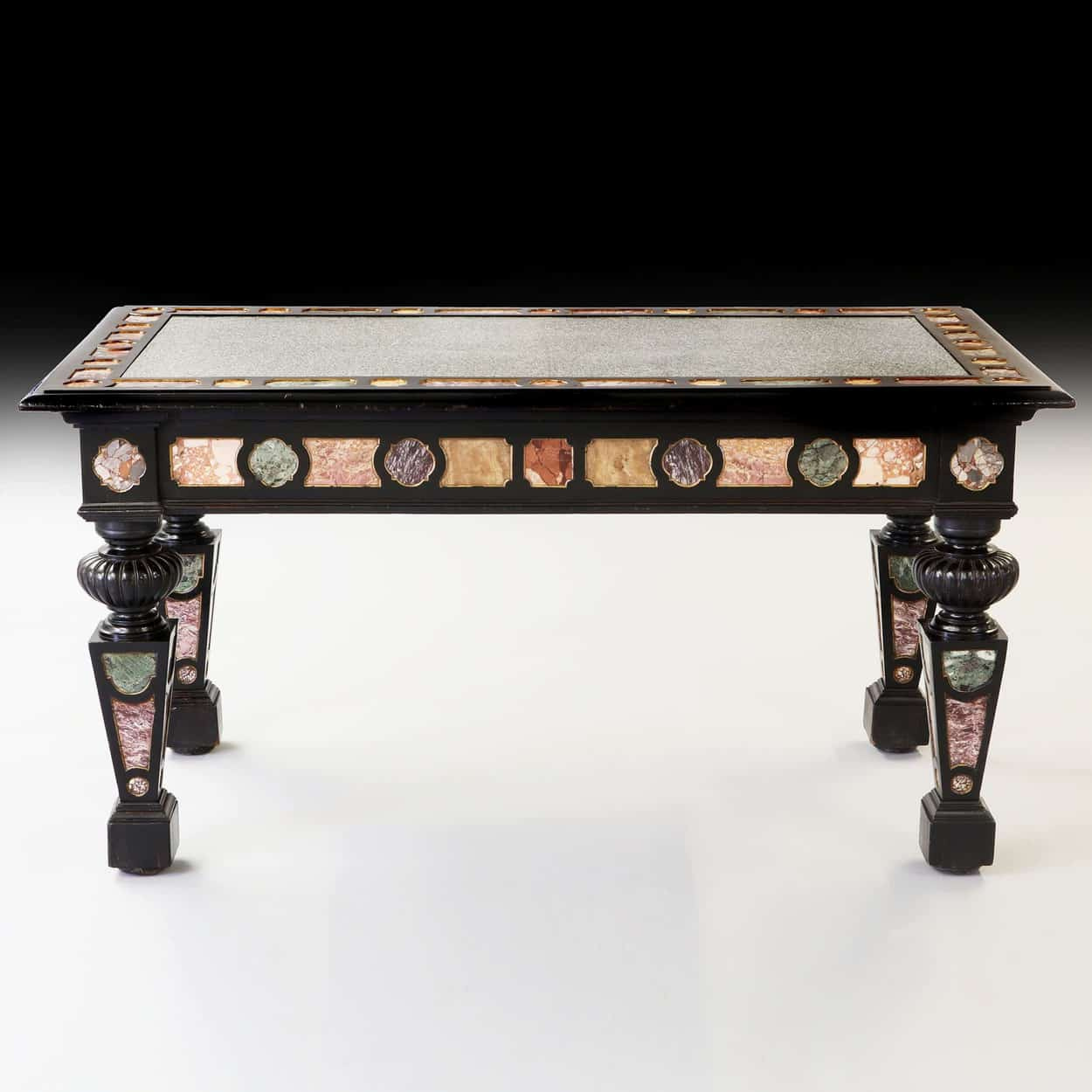 important and truly unique 19th Century Florentine marble centre table
