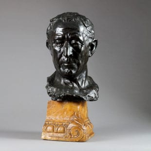 20th Century Bronze Bust of Julius Caesar on a Siena marble base