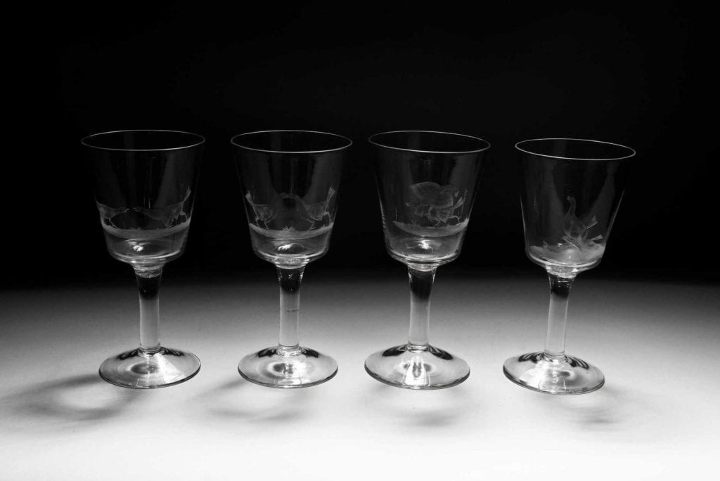 Wheel Engraved Cock Fighting Glass Goblets