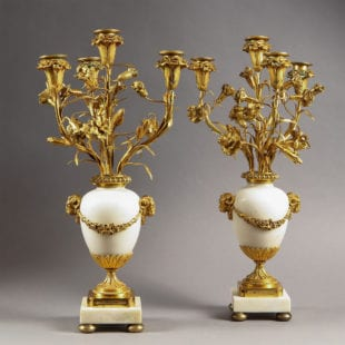 A Pair of French Neo Classical Gilt bronze Four Light Candelabra