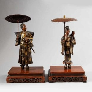 Pair of Japanese Meiji Bronze Okimono Figures