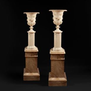 Pair of Illuminating Classical Alabaster Urns