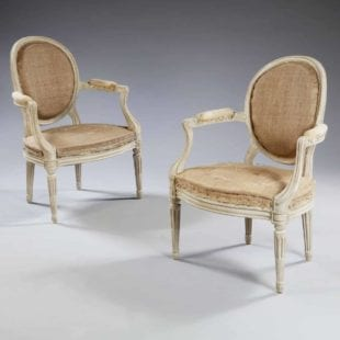 pair of louis xv transitional fauteuils