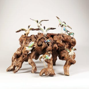 Diorama of Enamel Birds on Rootwood stand II