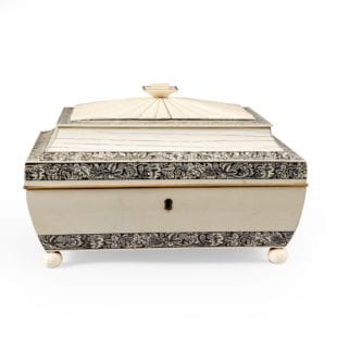 Anglo Indian Vizagapatam Ivory and Sandalwood Casket