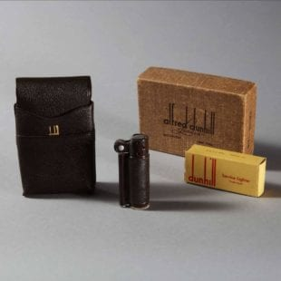 A rare World War II Issue Dunhill Service lighter, retaining its original cardboard box, pouch stamped Dunhill and exterior box.