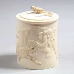 Meiji Ivory Tusk Box with tigers and an elephant