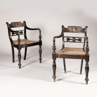 Pair of solid ebony indian antique armchairs