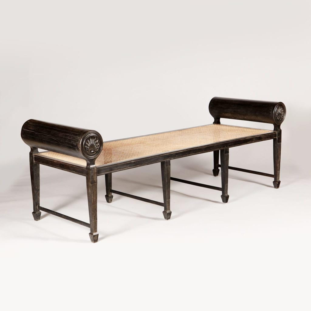 Large Antique Indian Bench or Day Bed in Ebony