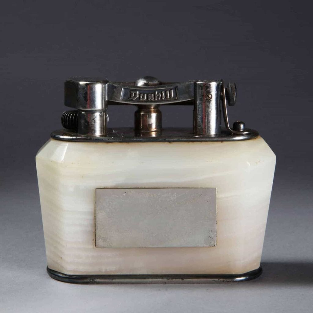 Dunhill Half Giant Silver Plated Onyx Table Lighter