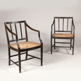 12 Solid Ebony Anglo Indian Dining chairs with Caned Seats