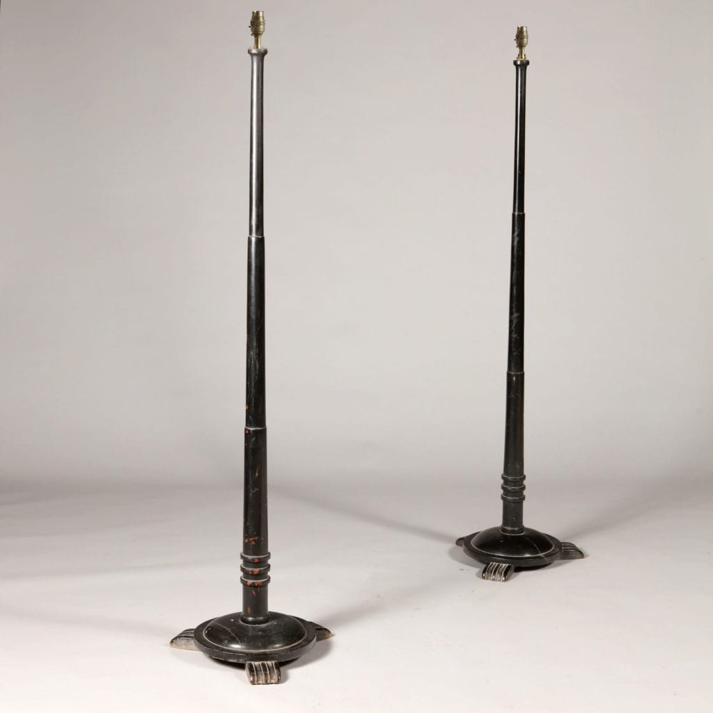 Pair of Ebonised Indian Art Deco Standard Lamp Bases