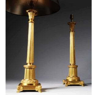 Antique Gold Column Table Lamps
