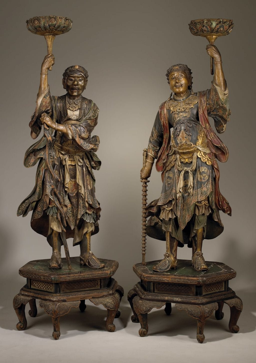 Pair of Japanese Carved Wooden Temple Guards