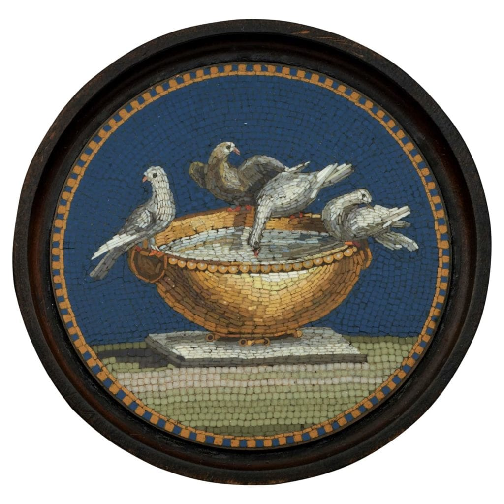 A fine late 18th-century grand tour souvenir micromosaic panel of the Doves of Pliny. Attributed to Giacomo Raffaelli (February 2, 1753 - October 11, 1836)  Italy, Rome, circa 1800